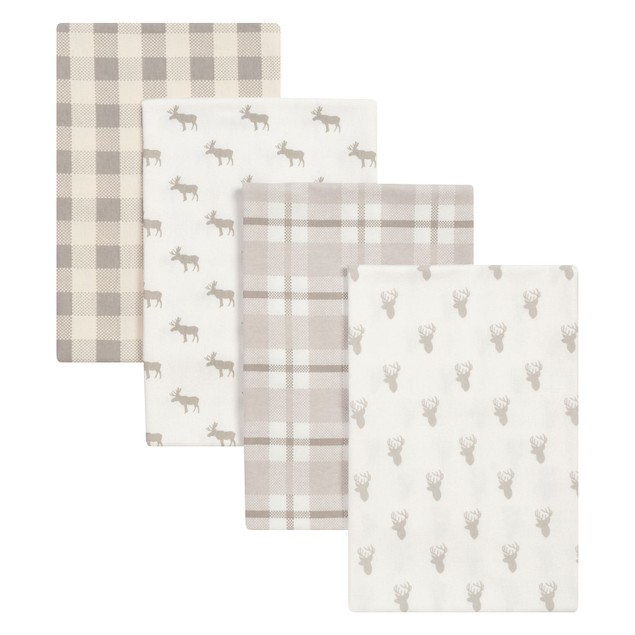 Trend Lab Stag and Moose Flannel Kids Blankets- 4 Pack