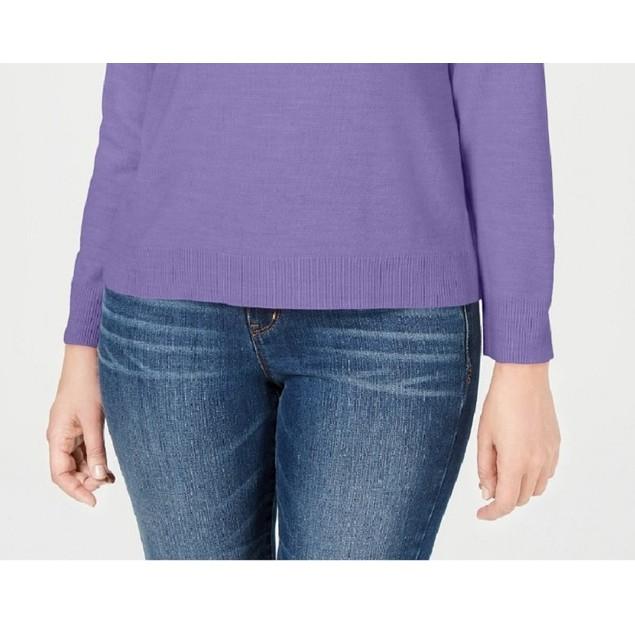 Karen Scott Women's Petite Mock-Neck Sweater Purple Size 44