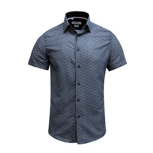 Monza Modern Fit Short Sleeve Navy Peacock Dress Shirt