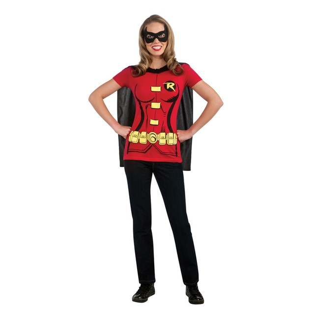 Robin Womens Costume Kit T-Shirt Mask Removable Cape Batman Movie Adult