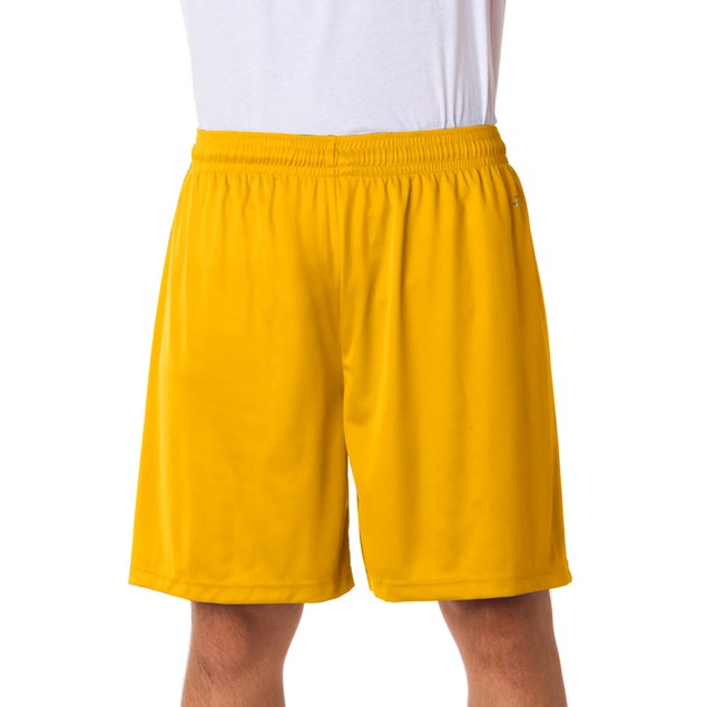 Gold Athletic Mens Shorts Adult Sports Yellow Golden Polyester