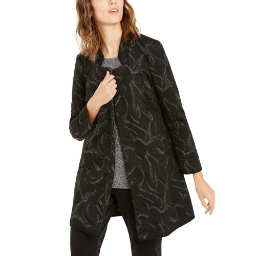 Alfani Women's Metallic-Print Jacquard Topper Jacket  Black Size Medium