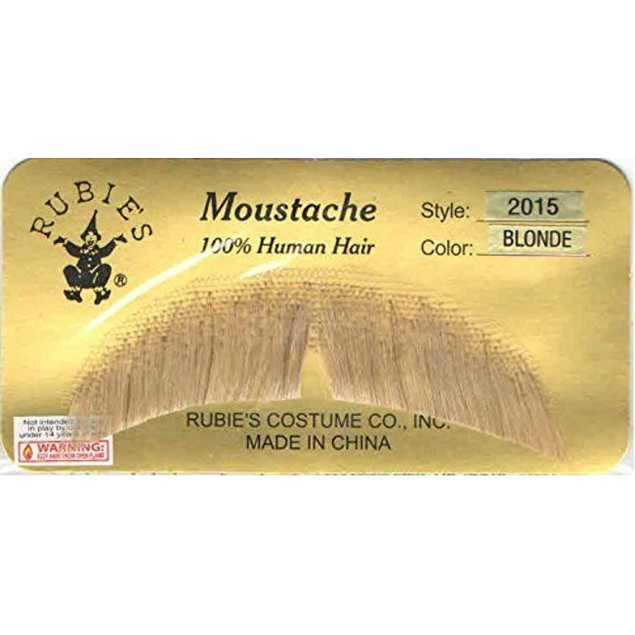 Blonde Basic Character Moustache 100% Human Hair Costume Accessory Adult