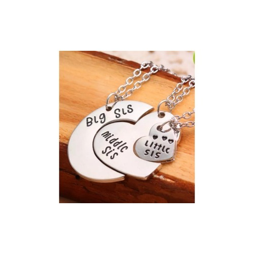 Sisters Big Sis Middle Sis Little Sis Hearts Necklace