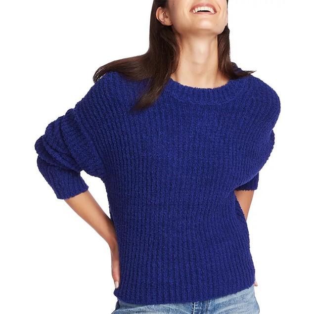 1.STATE Women's Mock Neck Terry Yarn Sweater Navy Sea Lt/Pasblue Size Large