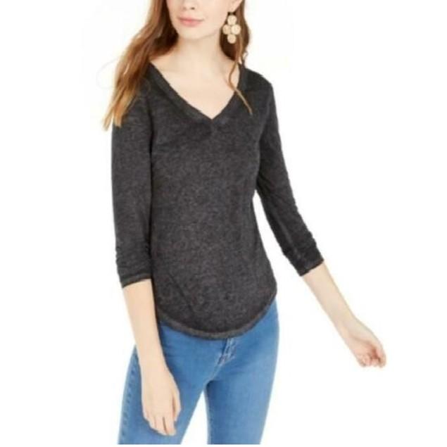 Ultra Flirt Juniors' Long-Sleeved Textured Boyfriend T-Shirt Black Size XS