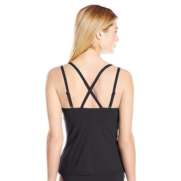 LOLE Women's Argentina Tankini Swimsuit Top, Black, small