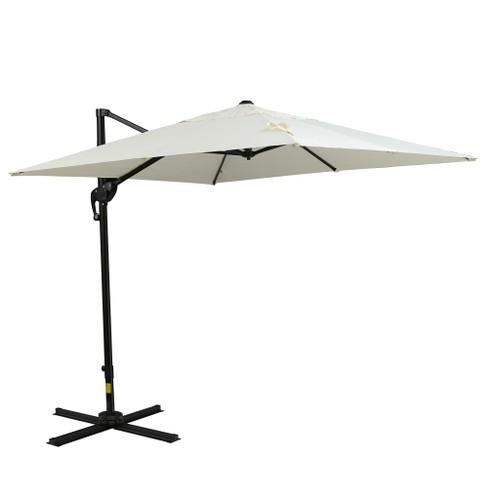 8x8ft Square Patio Offset Cantilever Umbrella 360° Rotation w/ Cross Off