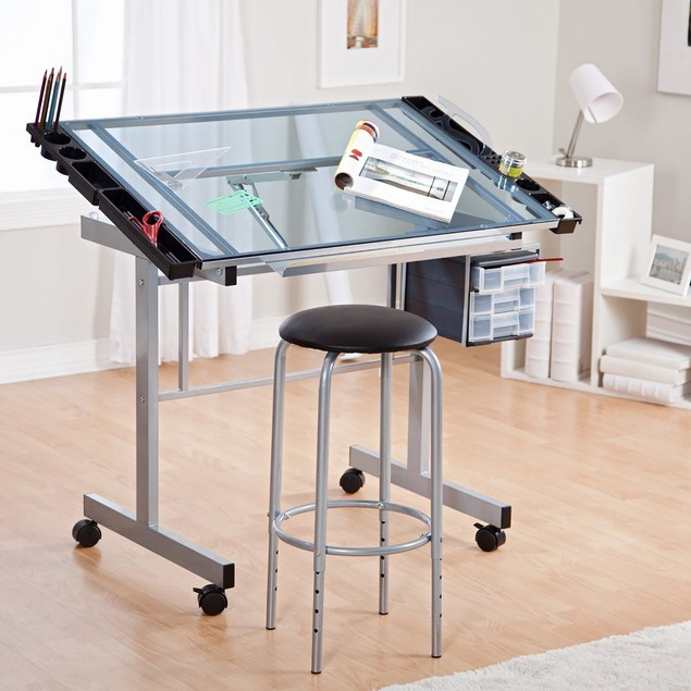 Offex 2 Piece Vision Craft Station 10055, Glass Craft Table, Silver/Blue