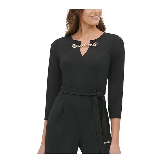 Tommy Hilfiger Women's Grommet-Neck Jumpsuit Black Size 14