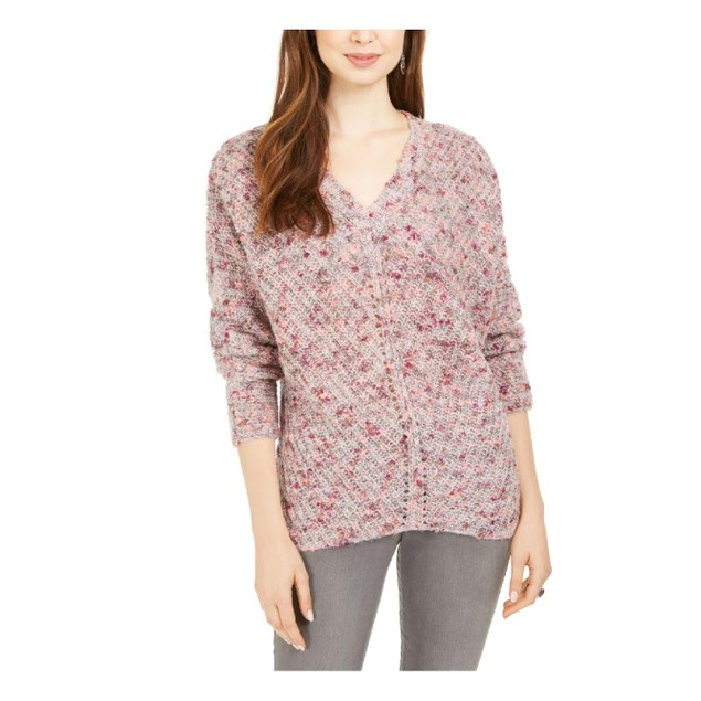 Style & Co Women's V-Neck Dolman-Sleeve Sweater Pink Extra Large