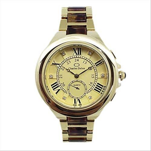 Charles Delon Women's Watches 5768 LGCD Gold/Brown/Gold Stainless Steel Quartz
