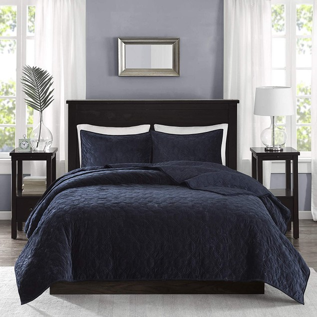 Madison Park Harper Velvet Three Piece Quilted Coverlet Set, King, Blue