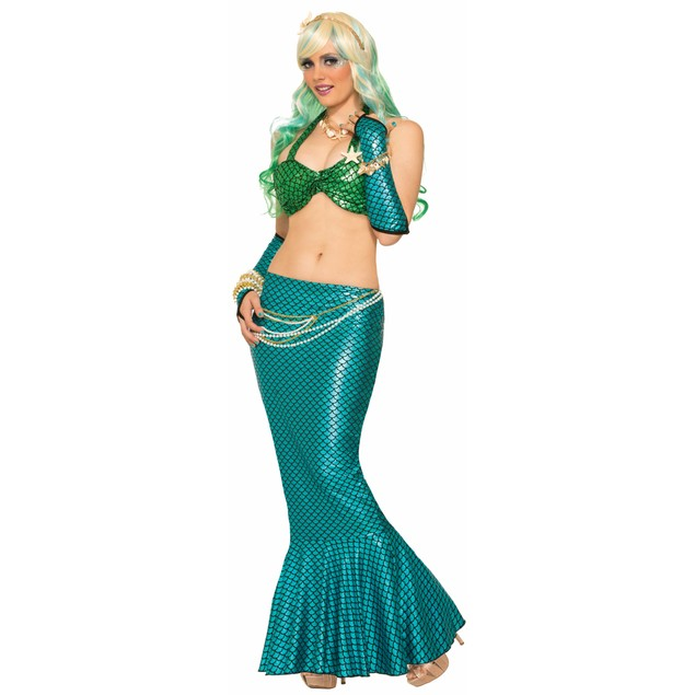 Blue Mermaid Fin Skirt Flare Little Fish Tail Long Costume Bottom Adult