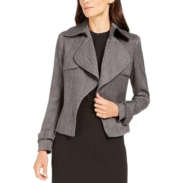 Anne Klein Women's Herringbone Wide Lapel Jacket Black Size 16