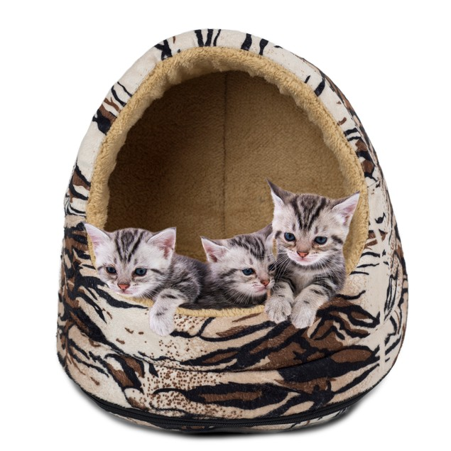 FurHaven Animal Print Hood Pet Bed