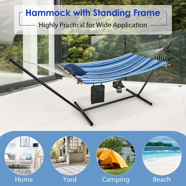 Costway Hammock Chair Stand Set Cotton Swing w/ Pillow Cup Holder Indoor Ou