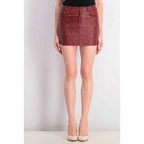 Vigoss Jeans Women's Snakeskin Print Mini Skirt Dark Red Size Large