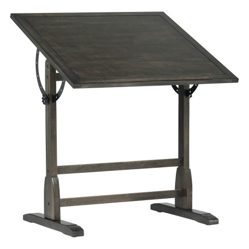 """Offex Vintage Solid Wood Drawing, Drafting Table with 36"""" Adjustable Tilting Top - Distressed Black"""