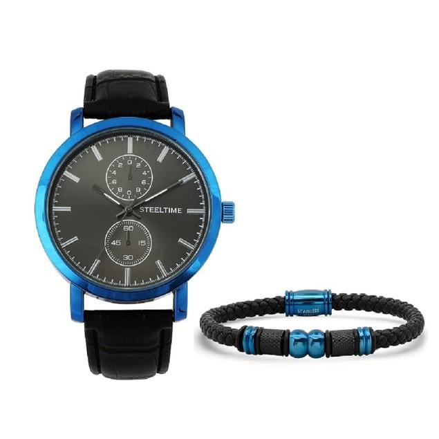 Bracelet & Watch Set W/ Bracelet W/ IP Plated Blue Steel Bead Accents
