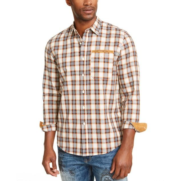 Sean John Men's Herringbone Woven Plaid Shirt Brown Size XXX-Large