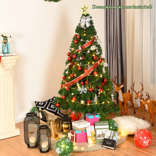 Costway 5Ft/6Ft/7Ft/8Ft Artificial PVC Christmas Tree W/Stand