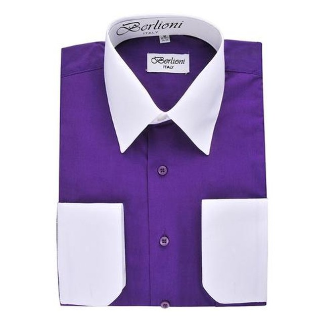 Mens Two-Tone Dress Shirt Purple / White Dress Shirt N523