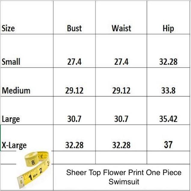 Sheer Top Flower Print One Piece Swimsuit