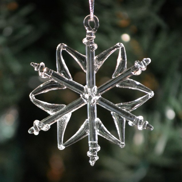 Six Different Clear Glass Handmade Snowflakes Christmas Tree Hanging 6