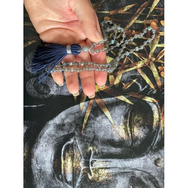 6mm 108 Bead Labradorite Mala Hand Knotted Mantra Sound Healing