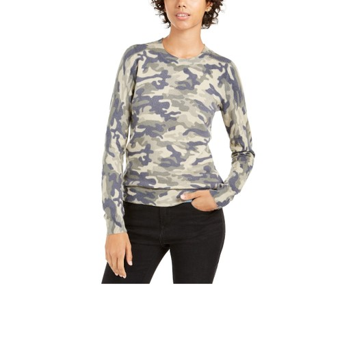 Planet Gold Juniors' Camo Crew Neck Sweater Green Size Large