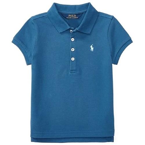 Ralph Lauren Girls' Cotton Mesh Polo Short Sleeve Shirt, Size: 6X, Blue