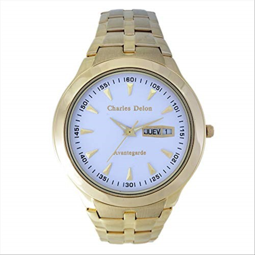 Charles Delon Men's Watches 5247 GGWD Gold/White Stainless Steel Quartz Round