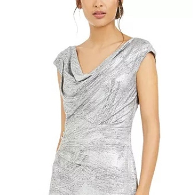 Connected Women's Cowlneck Metallic Slit Gown Gray Size 8
