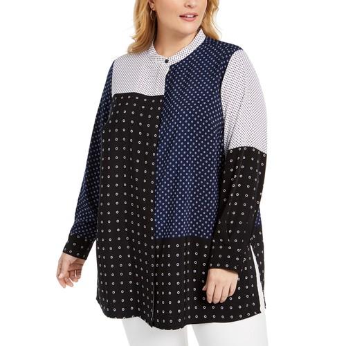 Alfani Women's Plus Size Mixed-Print Tunic Top Black Size 3 Extra Large