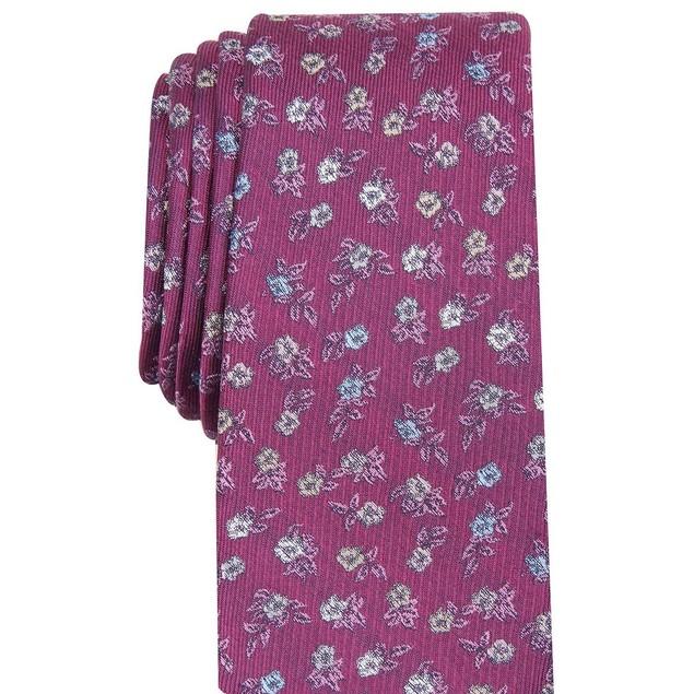 Bar III Men's Glencoe Skinny Floral Tie  Purple Size Regular