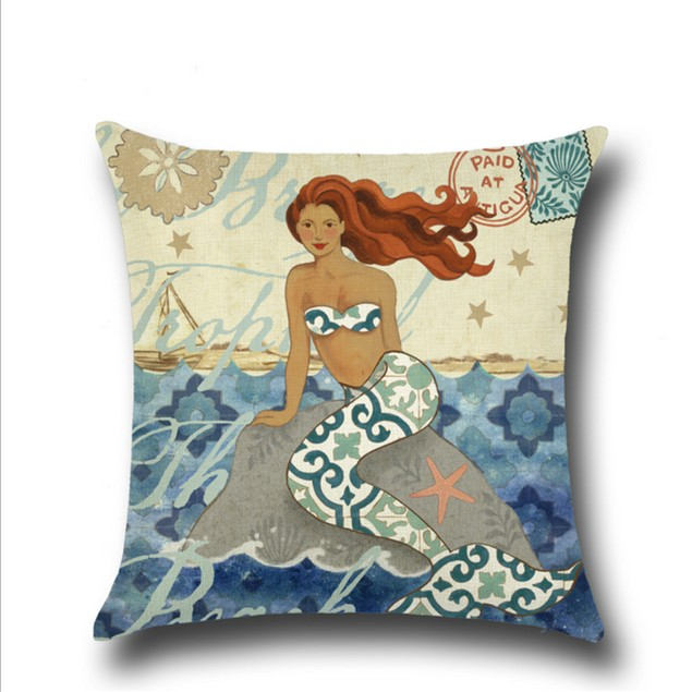 Mermaid Cotton Linen Decorative Throw Pillow Case Sets of 4 18X18 Inches