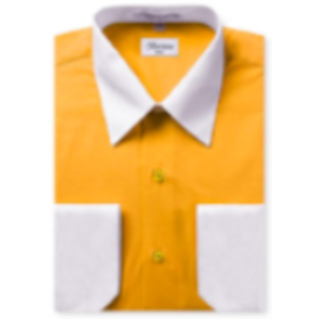 Mens Two-Tone Dress Shirt Gold / White Dress Shirt N528