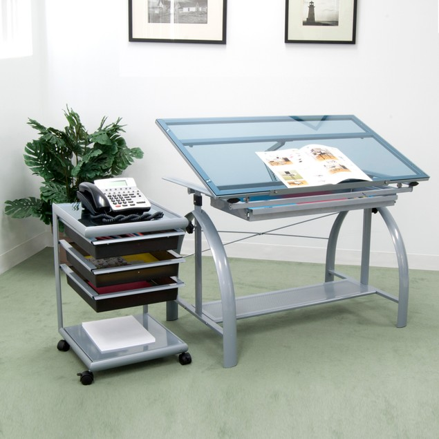 Avanta Height Adjustable Blue Tempered Glass Top Drafting Table - Silver