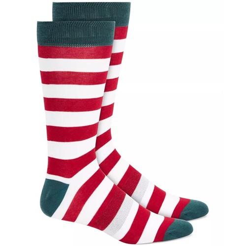 Bar III Men's Striped Socks Red Size Regular