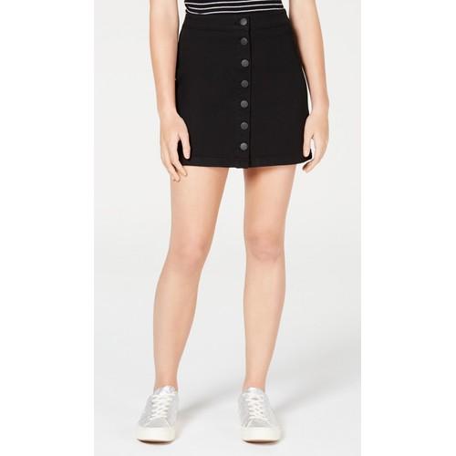 Dollhouse Juniors' Button-Front Jean Skirt Black Size 1