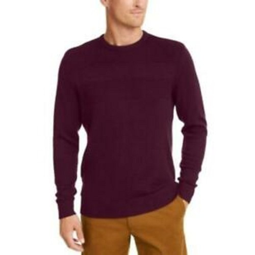 Club Room Men's Cotton Solid Textured Crew Neck Sweater Dark Red Size Large