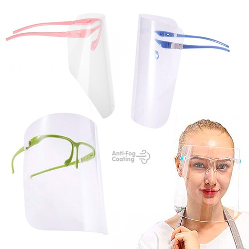 Protective Face Shield with Attached Glasses