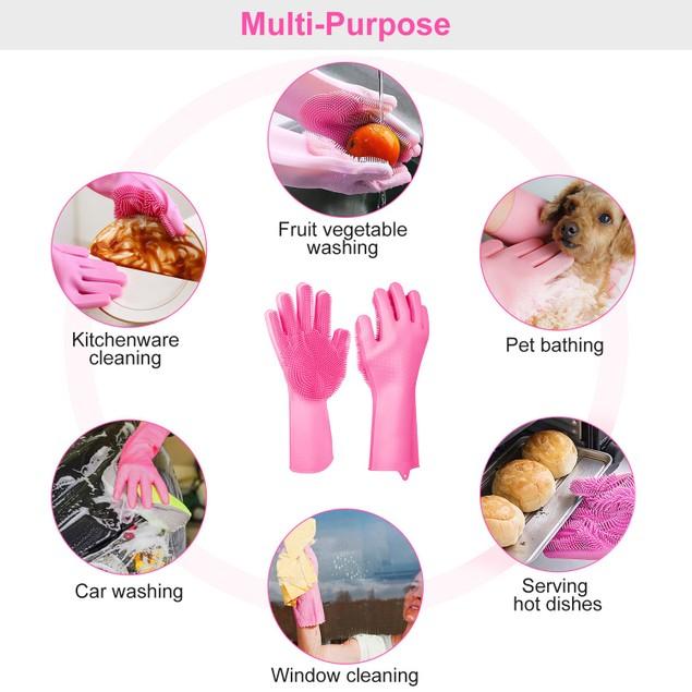 1 Pair Magic Silicone Brush Dishwashing Gloves Cleaning Sponge
