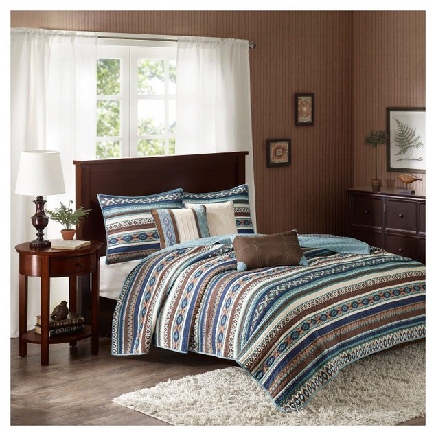 Madison Park Malone 6 Piece Printed Coverlet Set, Size: Full/Queen,