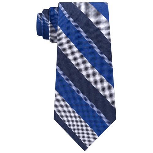 Tommy Hilfiger Men's Classic Oxford Stripe Silk Tie Navy Size Regular
