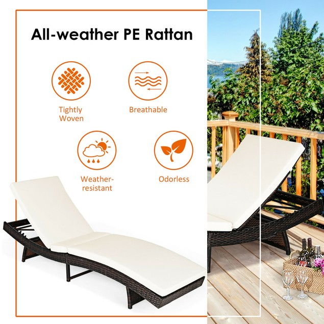 Costway 2PCS Patiojoy Patio Rattan Folding Lounge Chair Chaise Adjustable W