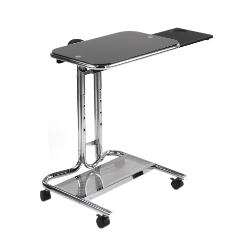 Calico Designs Laptop Cart with Mouse Pad  - Chrome/Clear Glass