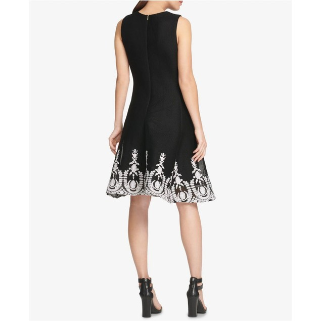 DKNY Women's Sleeveless Embroidered Fit & Flare Dress Black Size 4