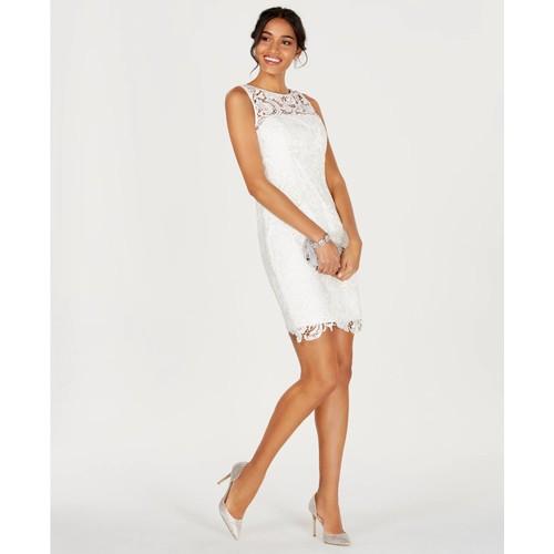 Adrianna Papell Women's Illusion Lace Sheath Dress White Size 4